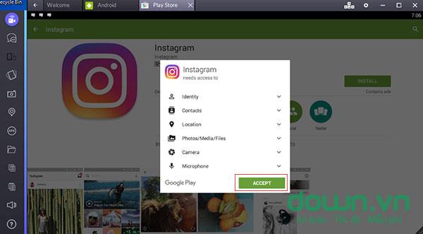 Cài đặt Instagram trên PC