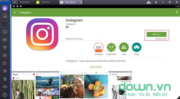 Cài đặt Instagram trên máy tính