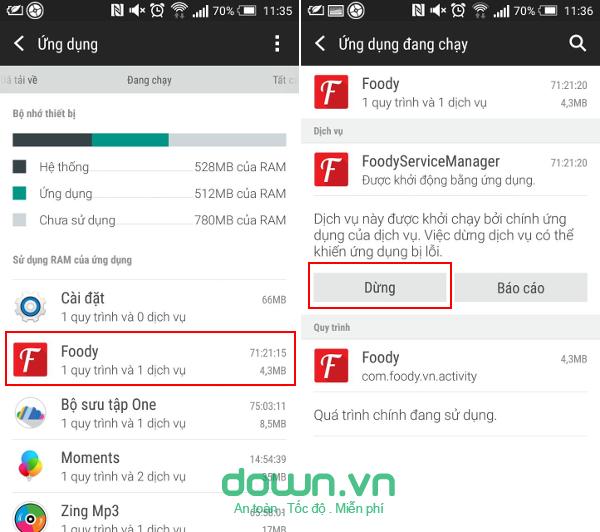 Dừng các ứng dụng đang chạy trên Android