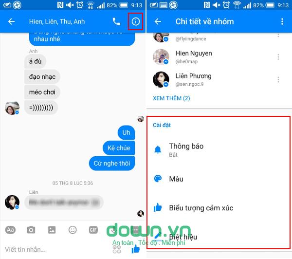 Tùy chỉnh tính năng của nhóm chat trên Facebook