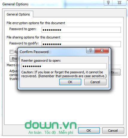 Đặt mật khẩu cho tệp tin word
