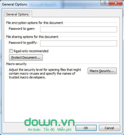 Cài đặt mật khẩu cho tài liệu word, excel
