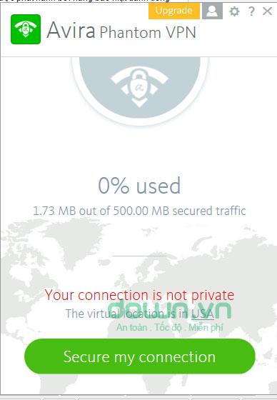 Giao diện chính của Avira Phantom VPN
