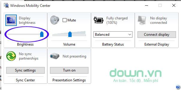 Thay đổi trong Windows Mobility Center