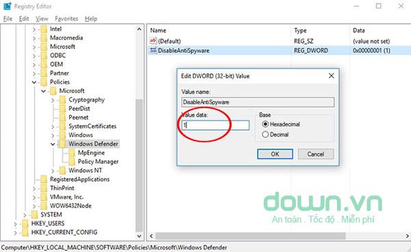 Nhập 1 để tắt bỏ Windows Defender trên Windows 10