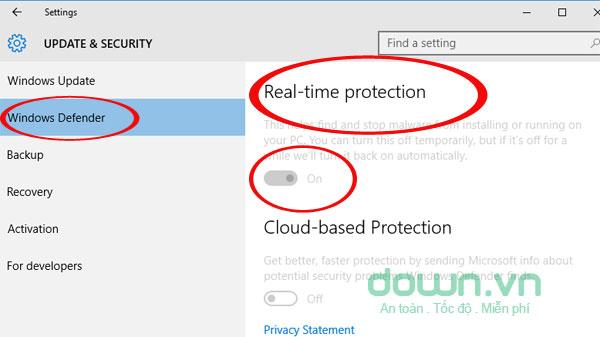 Nhấn Off để tắt bỏ Windows Defender