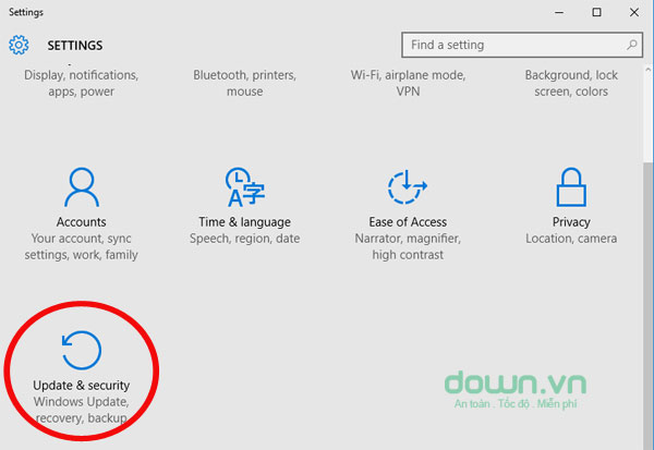 Mở chọn mục Update & security trong cửa sổ Settings