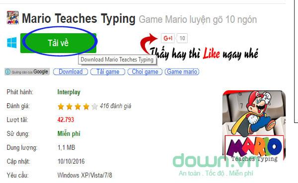 Nhấn chọn Tải về trên đường dẫn tải file cài đặt phần mềm Mario Teaches Typing