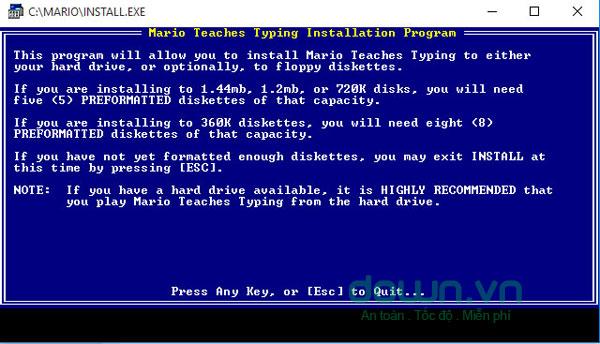 Cửa sổ giới thiệu phần mềm Mario Type Typing