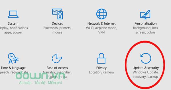 Nhấn chọn đến Update & security để mở tắt mạng Wifi hiện tại