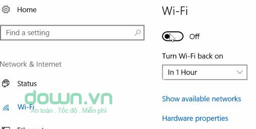 Lựa chọn khoảng thời gian muốn hẹn bật Wifi trên Windows 10