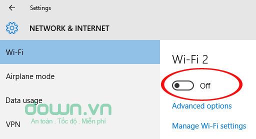 Tắt mạng Wifi hiện đang sử dụng đi