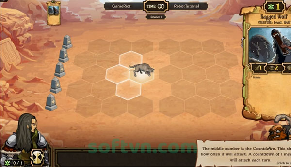Giao diện chiến đấu của game Scrolls