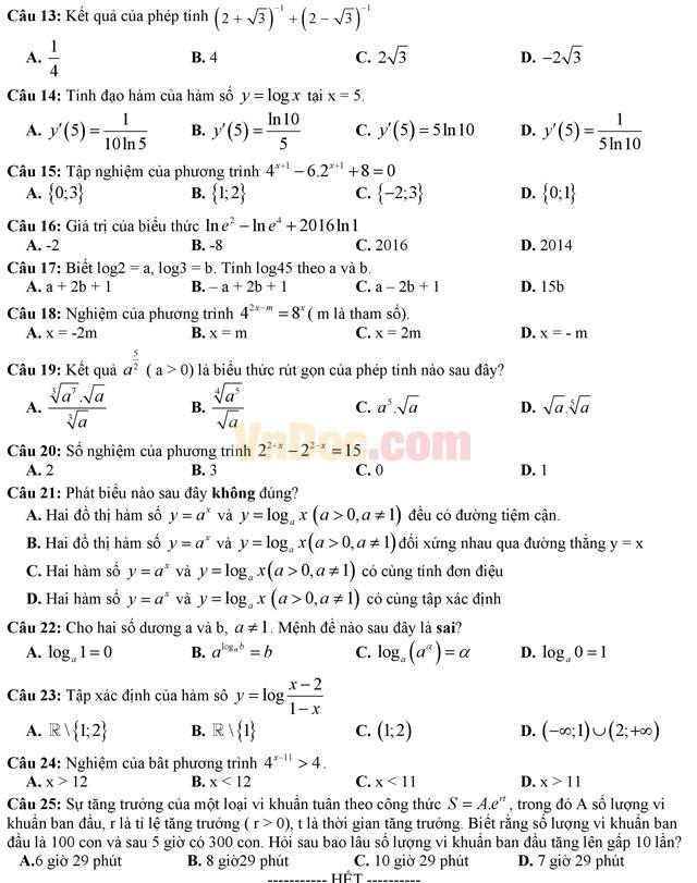 Đề kiểm tra 45 phút học kì 1 môn Toán lớp 12