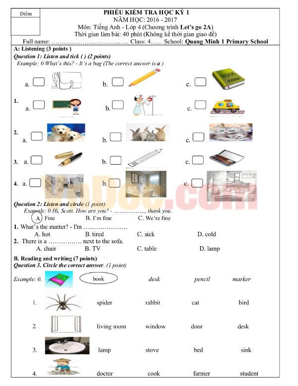 Đề thi học kỳ 1 môn tiếng Anh lớp 4 MỚI NHẤT có đáp án