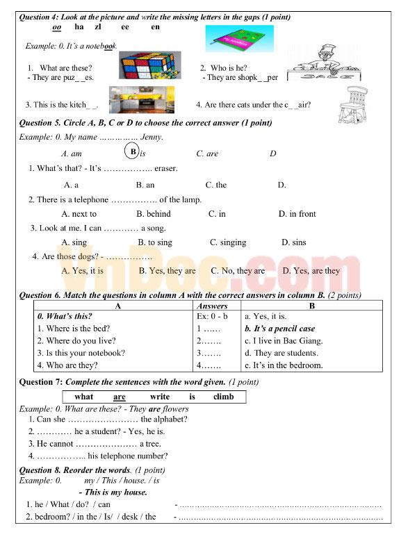 Đề thi học kỳ 1 môn tiếng Anh lớp 4 Chương trình Let's go 2A