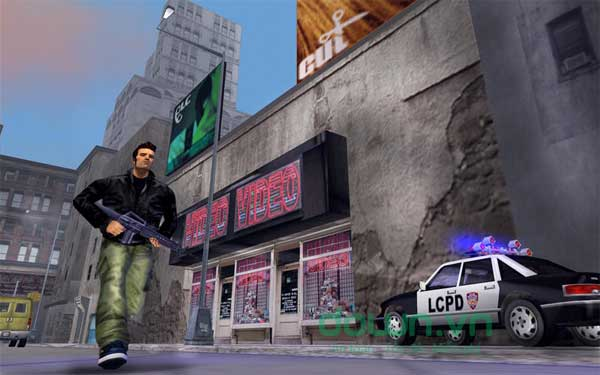 Nhân vật có thể lái trực thăng, ô tô và nhiều phương tiện khác trong game hành động Grand Theft Auto III cho Mac