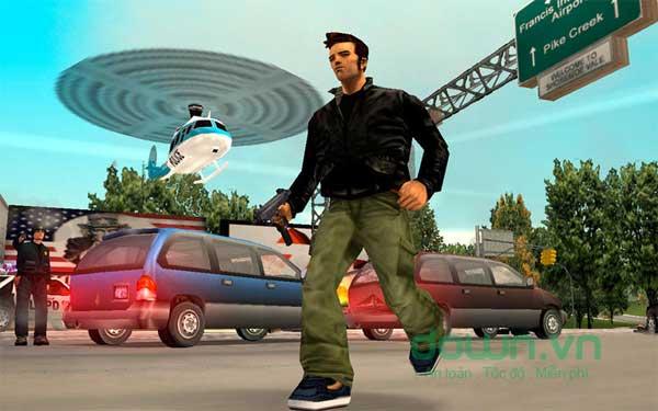 Sử dụng nhiều loại vũ khí khác nhau khi chơi game hành động Grand Theft Auto III cho Mac