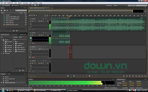 Giao diện của Adobe Audition