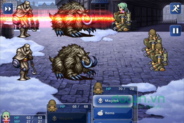 Giao diện chiến đấu trong game nhập vai Final Fantasy VI cho Android