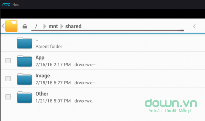 Các file bạn chuyển sẽ có trong File Manager/mnt/shared trên Nox