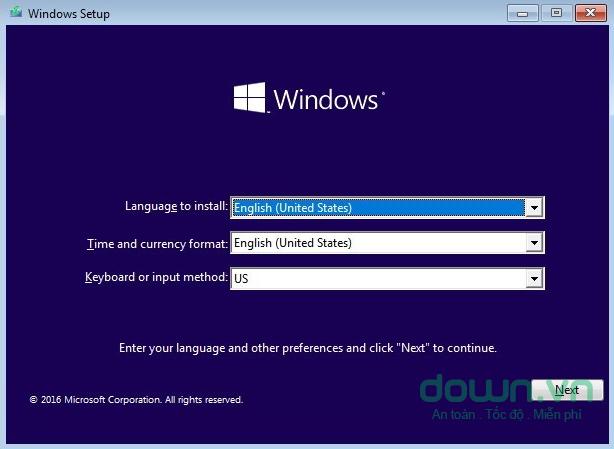 Cửa sổ đầu tiền của trình hướng dẫn cài đặt Windows
