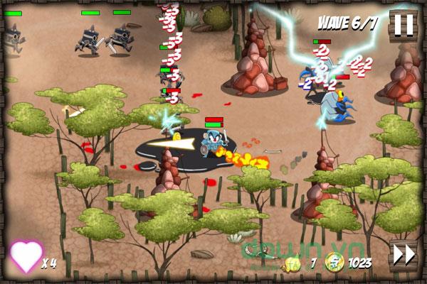 Cố gắng giành điểm số cao trong game phiêu lưu hành động phòng thủ Onion Force cho máy tính