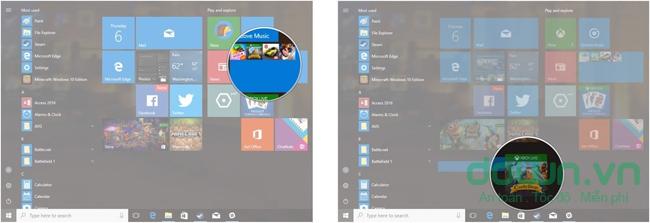 Chọn và kéo một ứng dụng ra ngoài Live folder