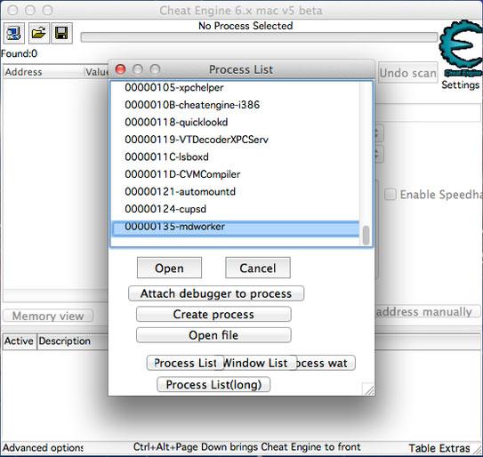 Giao diện của phần mềm Cheat Engine cho Mac