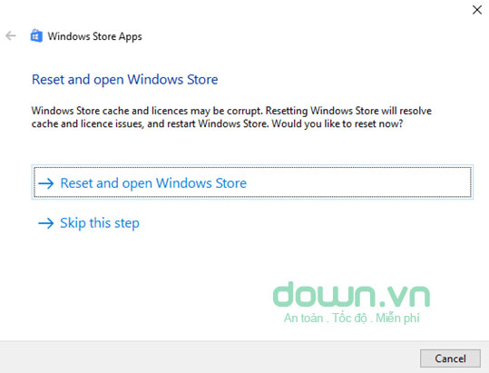 Reset and open Windows Store