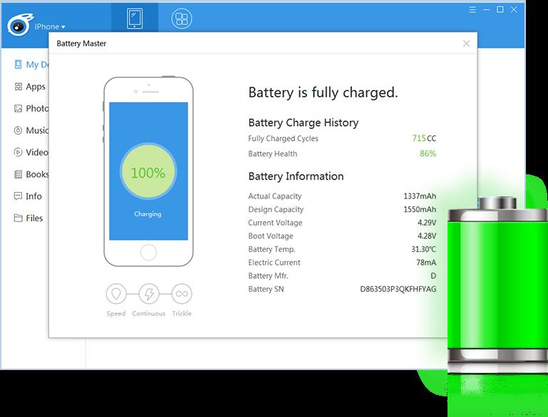 Chi tiết thông tin về pin iPhone/iPad khi xem trên iTools