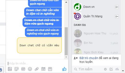 Cách tạo viền chú thích khi chat trên Facebook Messenger