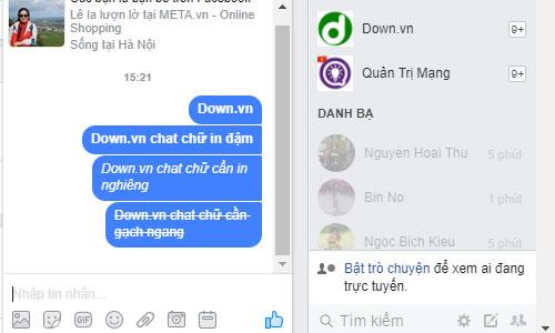 Cách chat chữ gạch ngang trên Facebook Messenger