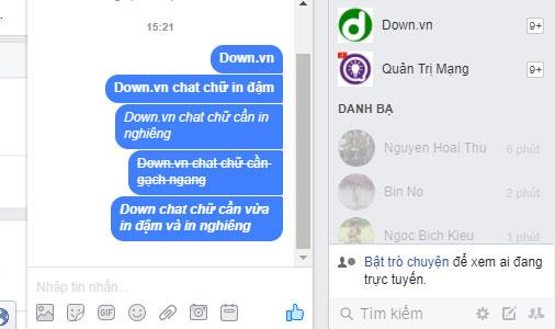 Cách tạo chữ in đậm, in nghiêng trong Facebook Messenger