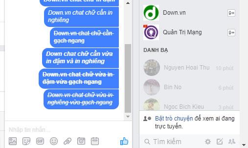 Cách chat chữ in nghiêng và gạch ngang trên Messenger