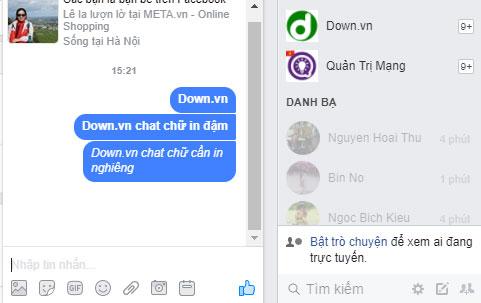 Cách viết chữ in nghiêng trong Facebook Messenger