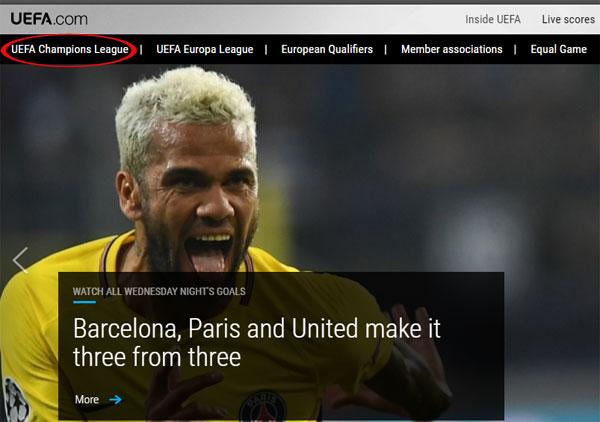 Trang chủ của UEFA