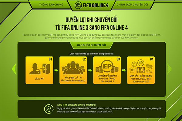 Cách chuyển đổi tài khoản FIFA Online 3 sang FIFA Online 4