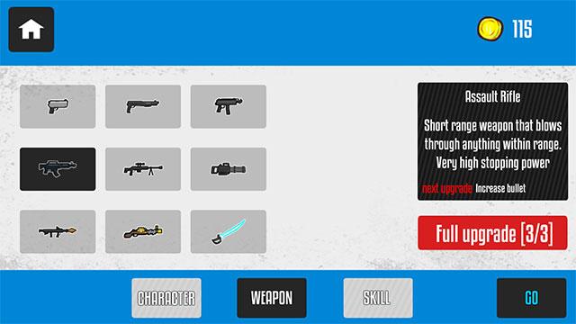 Vũ khí trong game City Zombie