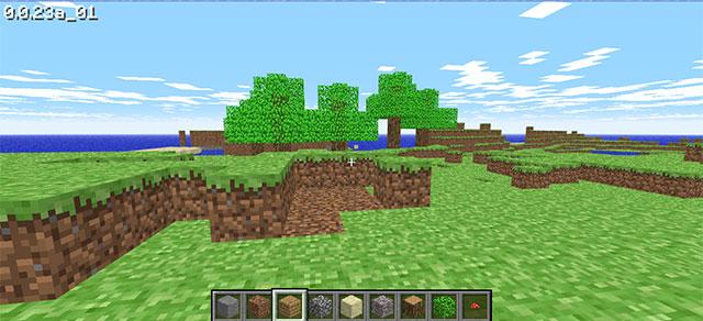 Giao diện chơi game Minecraft Classic